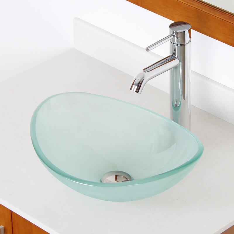 Mini Vessel Bathroom Sinks.Elite Mini Tempered Glass Oval Vessel Bathroom Sink Reviews Wayfair