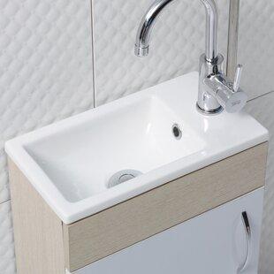 CeraStyle by Nameeks Mini Ceramic Rectangular Drop-In Bathroom Sink with Overflow