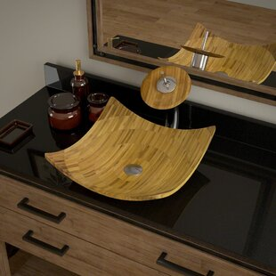 Buy clear Bamboo Square Vessel Bathroom Sink with Faucet By MR Direct
