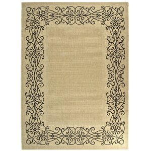 Meriline Ocean Sand/Black Outdoor Area Rug