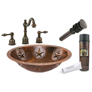 Premier Copper Products Star Metal Oval Undermount Bathroom Sink with Faucet