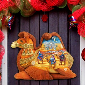 Camel Scenic Three Wise Men Religious Door Hanger