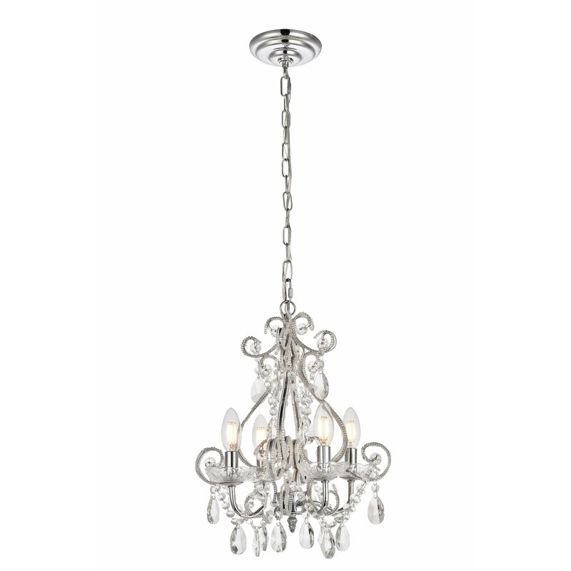House Of Hampton Burcott 4 Light Candle Style Classic Chandelier With Beaded Accents Reviews Wayfair