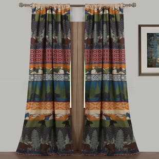 Black Bear Lodge Wildlife Sheer Rod Pocket Curtain Panels Set Of 2