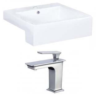 Price comparison Ceramic Rectangular Vessel Bathroom Sink with Faucet and Overflow ByAmerican Imaginations