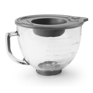 5 Qt. Glass Bowl with Measurement Markings, Pour Spout & Lid (Set of 2)