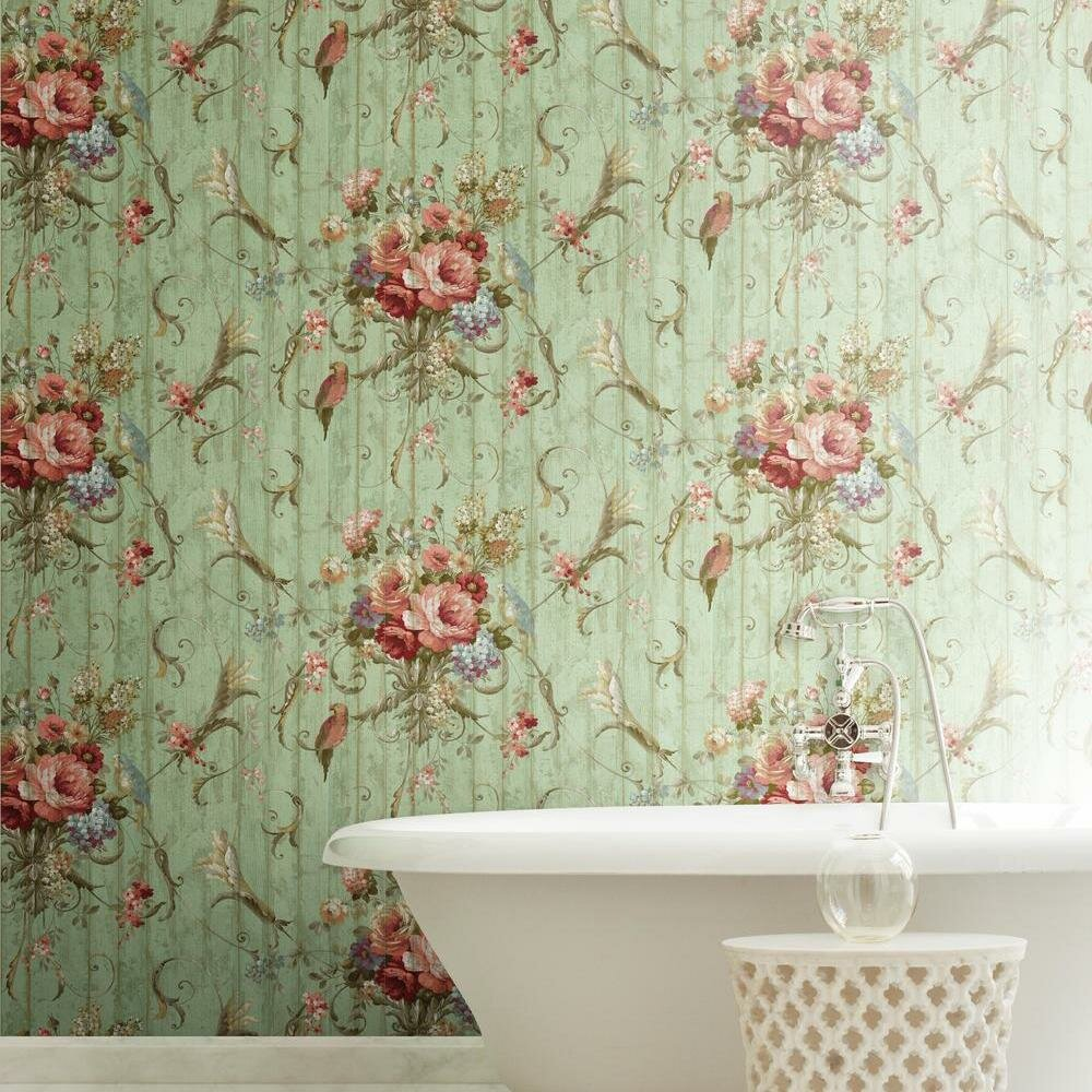 York Wallcoverings Book Parrots With Floral Bouquet 27 X 27