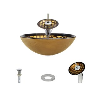 MR Direct Foil Undertone Glass Circular Vessel Bathroom Sink with Faucet