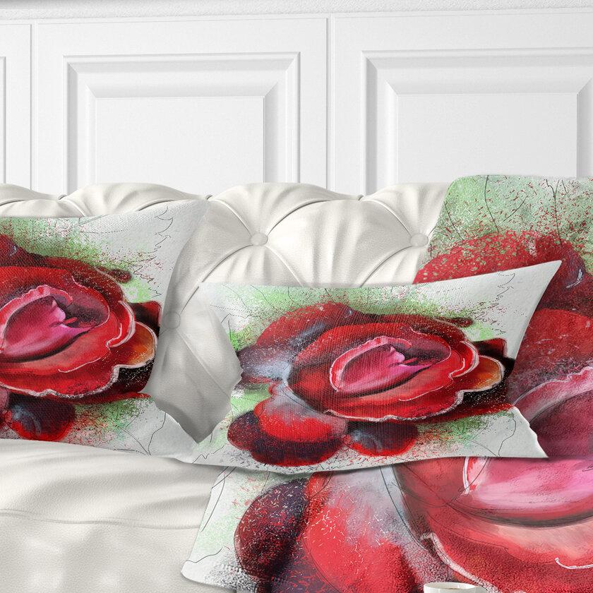 East Urban Home Floral Beautiful Rose Lumbar Pillow Wayfair