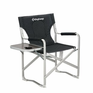Kingcamp Portable Heavy Duty Folding Reclining Camping Chair with Armrest Side Table and Cup Holder