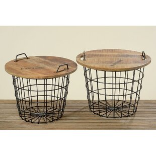 Williston Forge Monsen 2 Piece Convertible Basket End Table Set