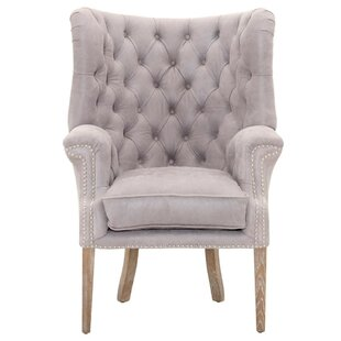 Rosdorf Park Laura Upholstered with High Curved Button Tufted Back Wingback Chair