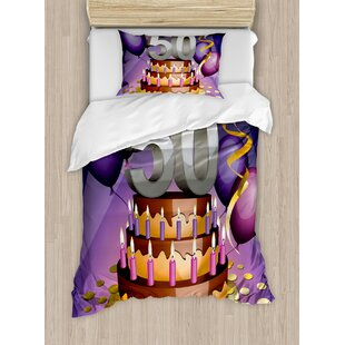 50th Birthday Decorations Creamy Cake With Many Candles And Numbers Balloons Ribbons Duvet Cover Set