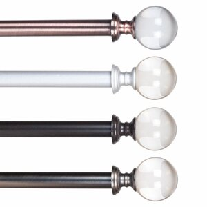 Crystal Ball Single Curtain Rod & Hardware Set