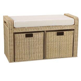 Household Essentials Rattan Natural Storage Bench