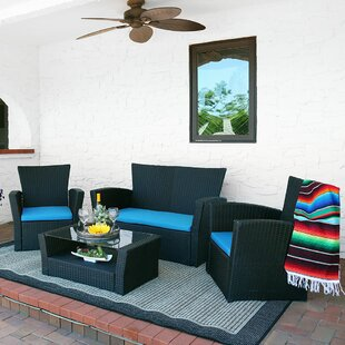 Carreiro 4 Piece Rattan Seating Group with Cushions