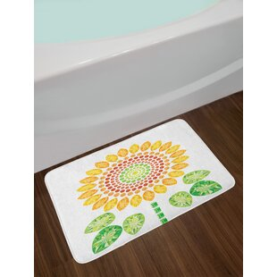 Round Sunflower Bath Rug By East Urban Home