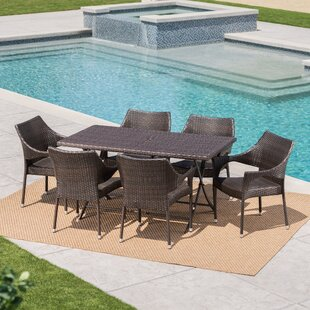 Prashob Outdoor Wicker 7 Piece Dining Set