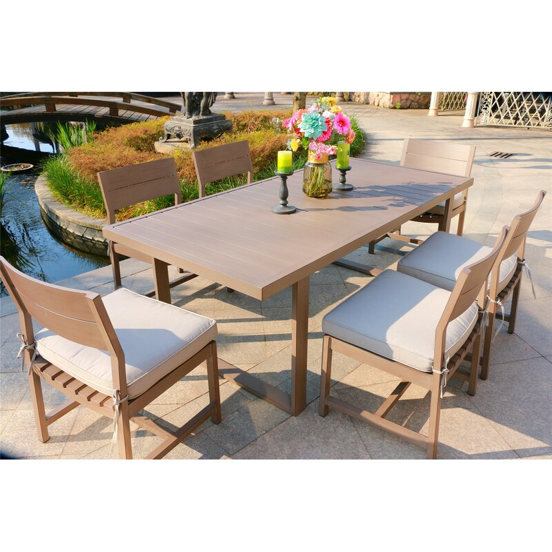 Schrader 7 Piece Dining Set With Cushions