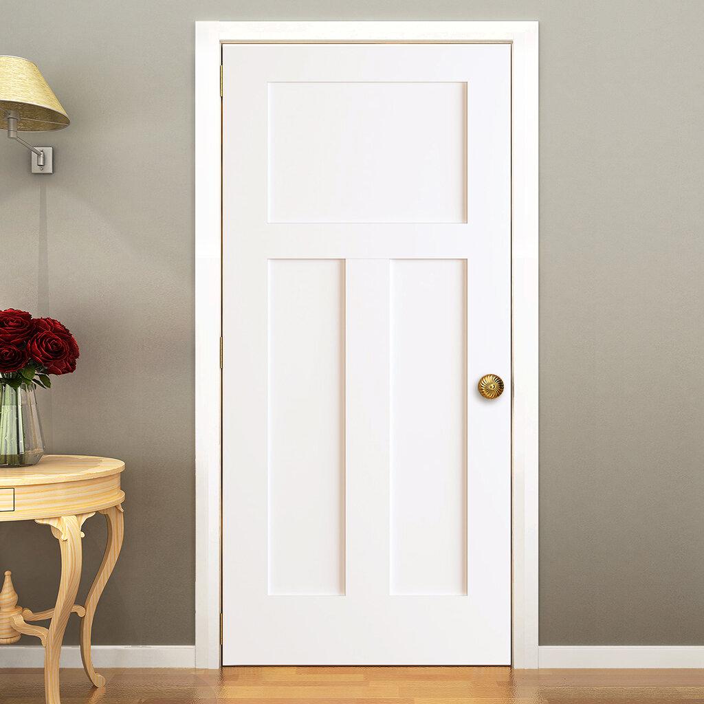 Kiby 3 Panels Shaker Solid Wood Panelled Slab Interior Door Reviews Wayfair
