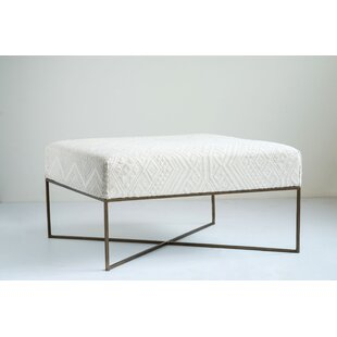 Foulks Woven Damask Upholstered Ottoman by Bungalow Rose