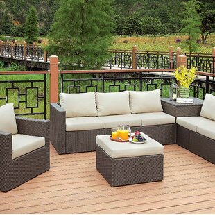 Mckee 5 Piece Rattan Sofa Seating Group with Cushions
