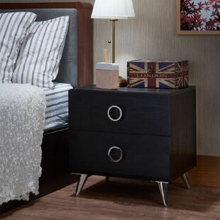 Sewickley 2  Drawer Metal Nightstand in Black