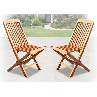 Emeline Wood Garden Yard Outdoor Folding Teak Patio Dining Chair (Set of 2)