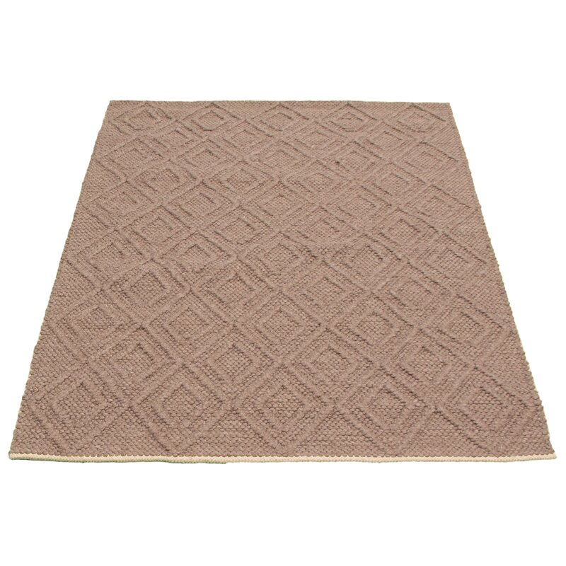 Dakota Fields Geometric Hand Braided Wool Brown Area Rug Wayfair