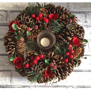 Pinecone Candle 35cm Plastic Wreath By The Seasonal Aisle