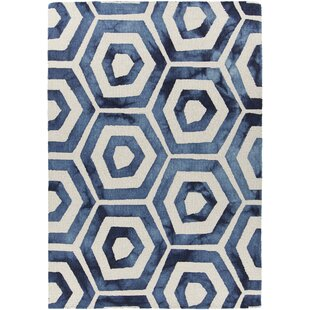 Searching for Garon Patterned Rectangular Contemporary Wool Blue/White Area Rug ByBrayden Studio