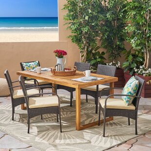 Deena 7 Piece Dining Set With Cushions by Bungalow Rose Top Reviews