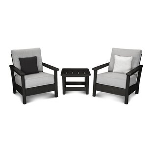 Harbour 3 Piece Sunbrella Conversation Set with Cushions by POLYWOOD?