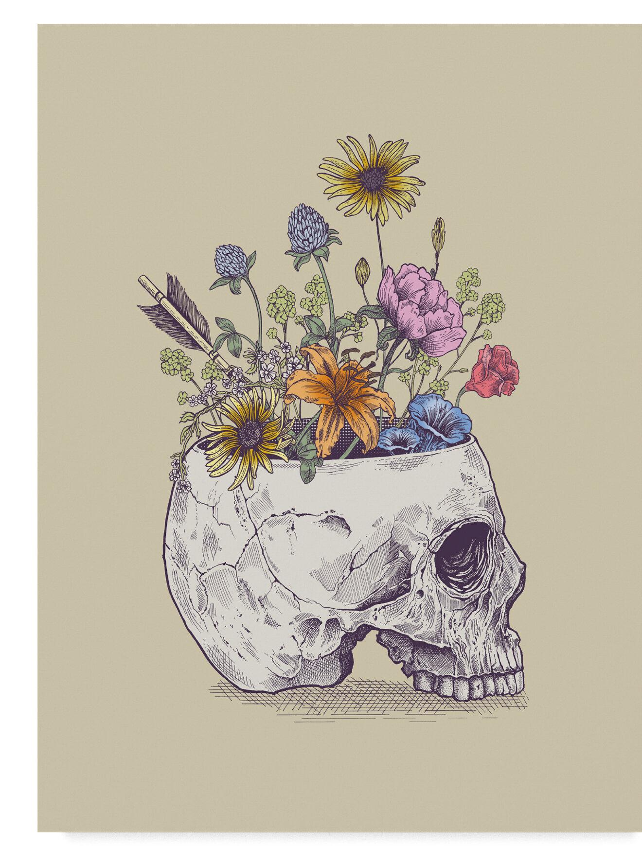 Ebern Designs Half Skull Flowers Graphic Art Print On Wrapped Canvas Wayfair