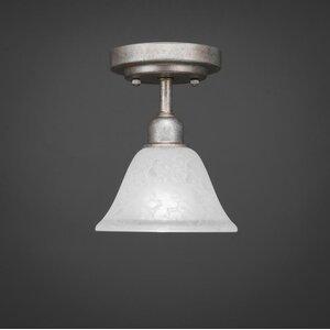 Kash 1-Light White Marble Glass Semi-Flush Mount