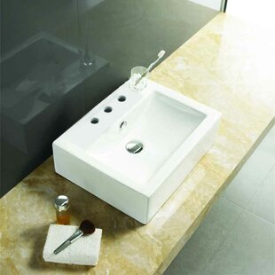 Online Reviews Ceramic Rectangular Bathroom Sink with Faucet and Overflow By American Imaginations