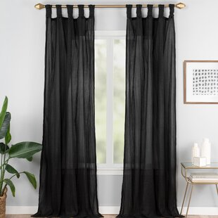 Connors Solid Semi-Sheer Tab Top Single Curtain Panel by Bungalow Rose