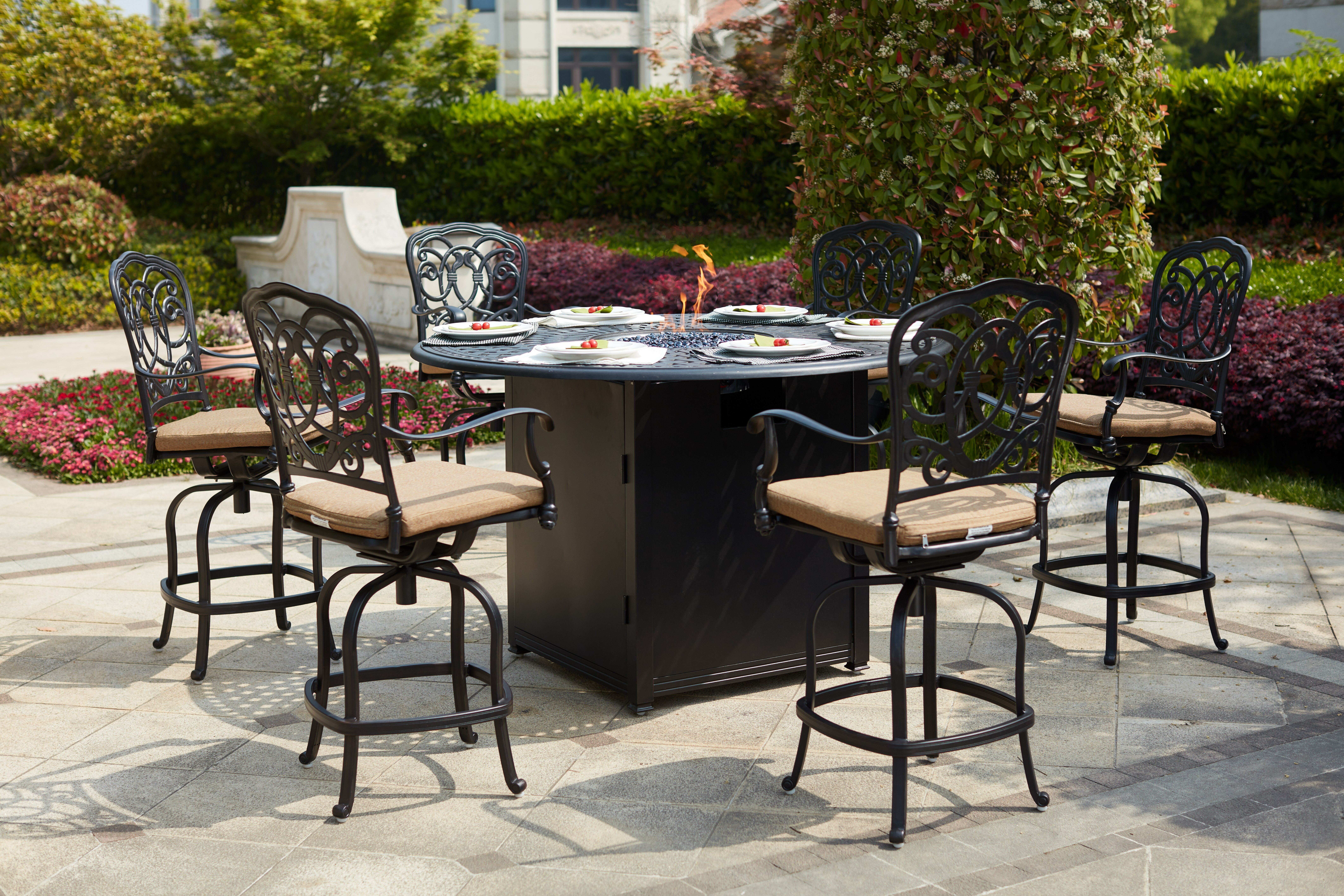Picture of: Fleur De Lis Living Baucom 7 Piece Bar Height Dining Set With Cushions And Firepit