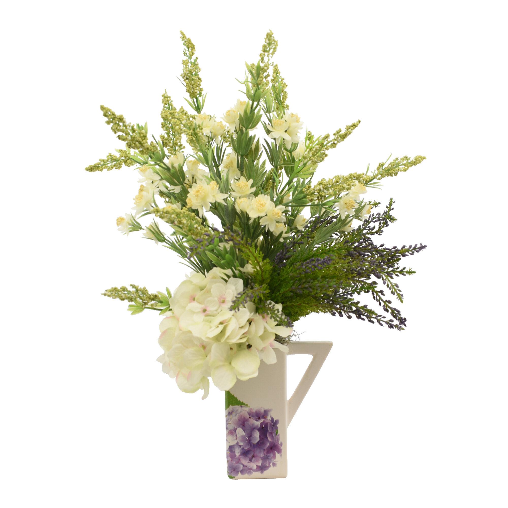 One Allium Way Hydrangea And Heather Mixed Floral Arrangement In Vase Wayfair
