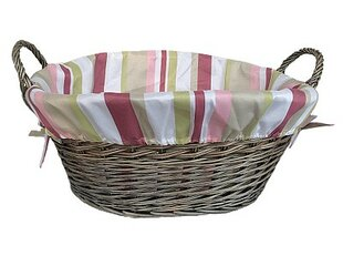 Wicker Laundry Basket With Striped Lining By Lily Manor