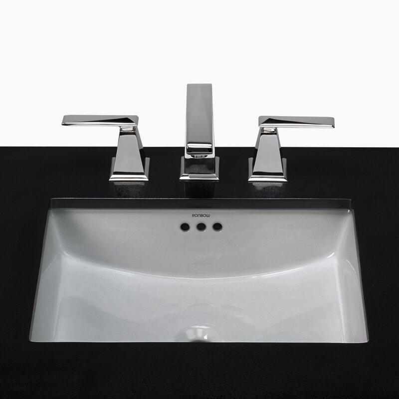 Essence Ceramic Rectangular Undermount Bathroom Sink with Overflow