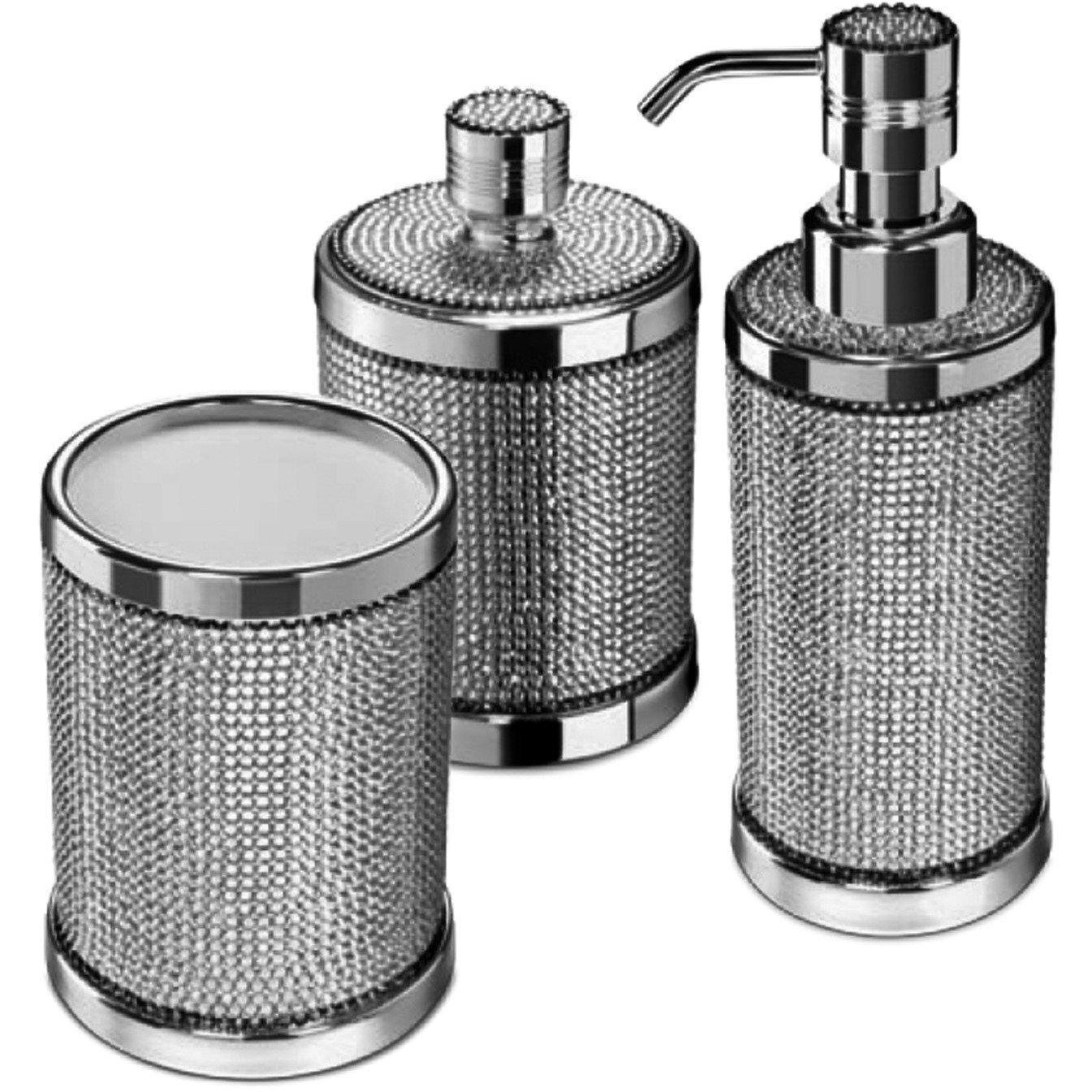 Rosdorf Park Patrice 3 Piece Swarovski Bathroom Accessory Set Wayfair