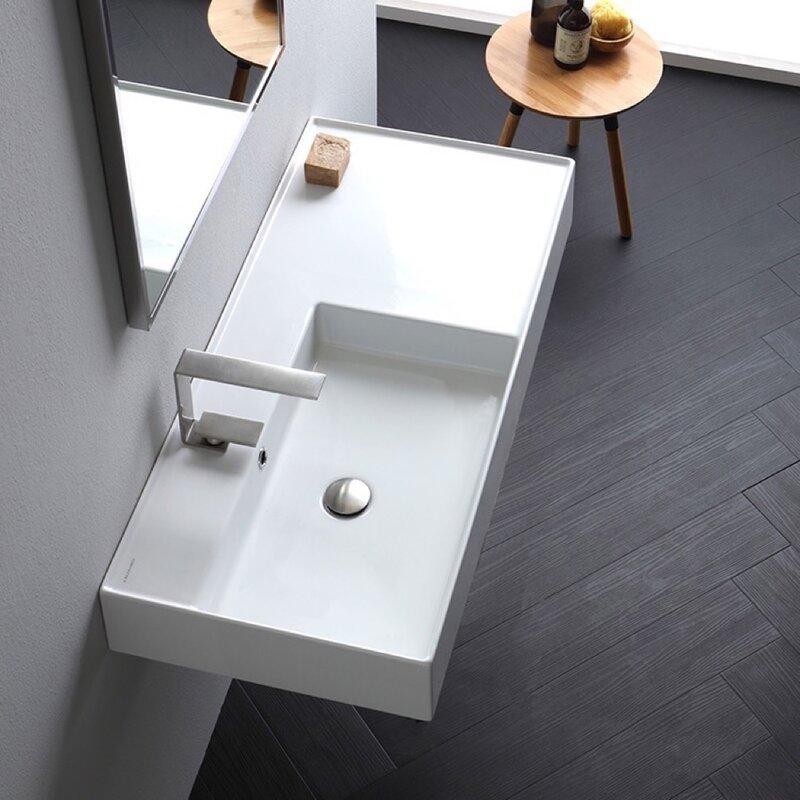 Scarabeo By Nameeks Ceramic 40 Wall Mounted Bathroom Sink With Overflow Reviews Wayfair