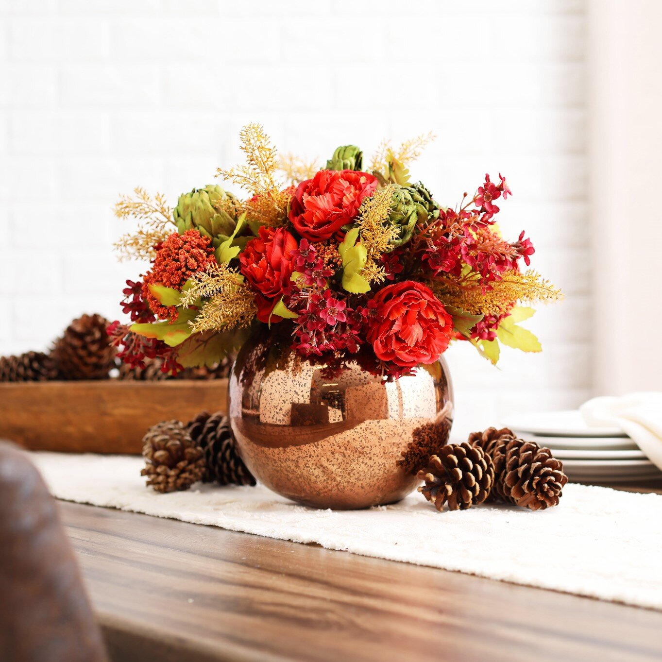 Darbycreektrading Paprika Ranunculus Dried Artichoke Rust Wildflower Fall Floral Arrangement Centerpiece In Bronze Glass Vase Wayfair