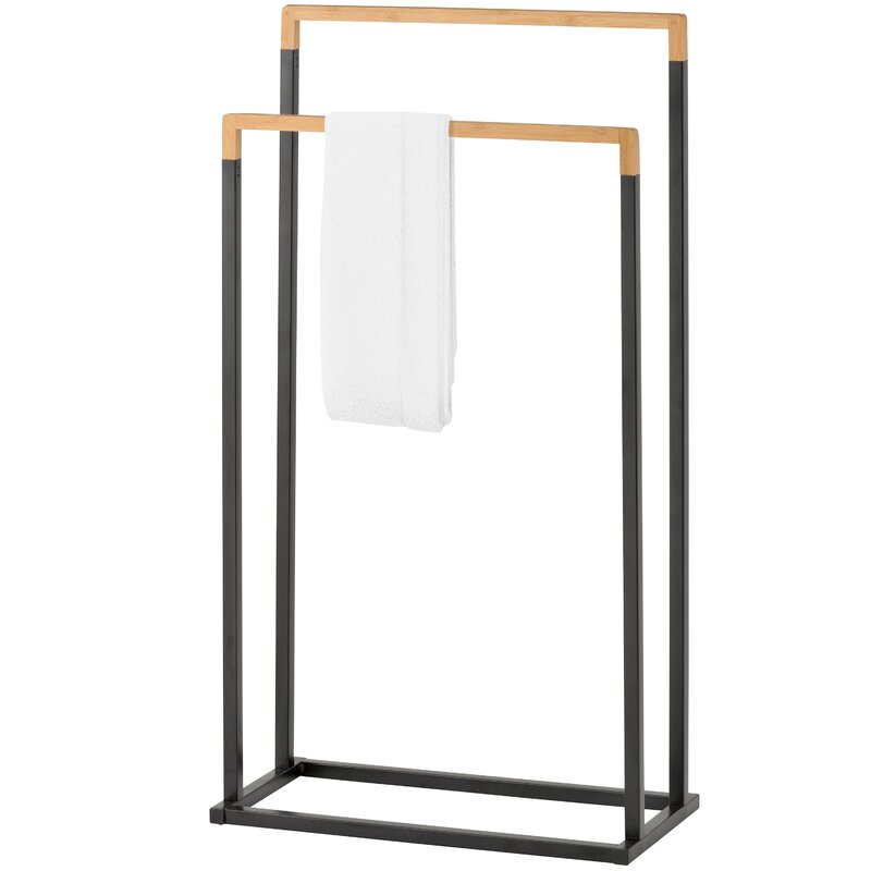 Metal and Bamboo Free Standing Towel Rack