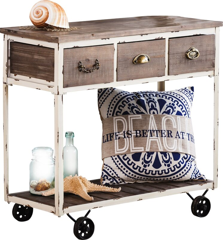 Highland Dunes Tilman Distressed Wooden Console Table with Wheels