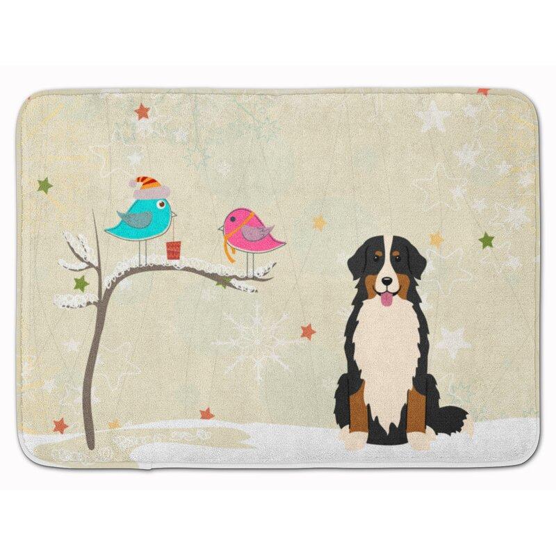 The Holiday Aisle Christmas Presents Bernese Mountain Dog Rectangle Microfiber Non Slip Bath Rug Wayfair