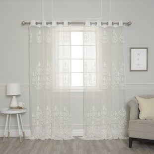 Pavel Toile Sheer Grommet Curtain Panels Set Of 2