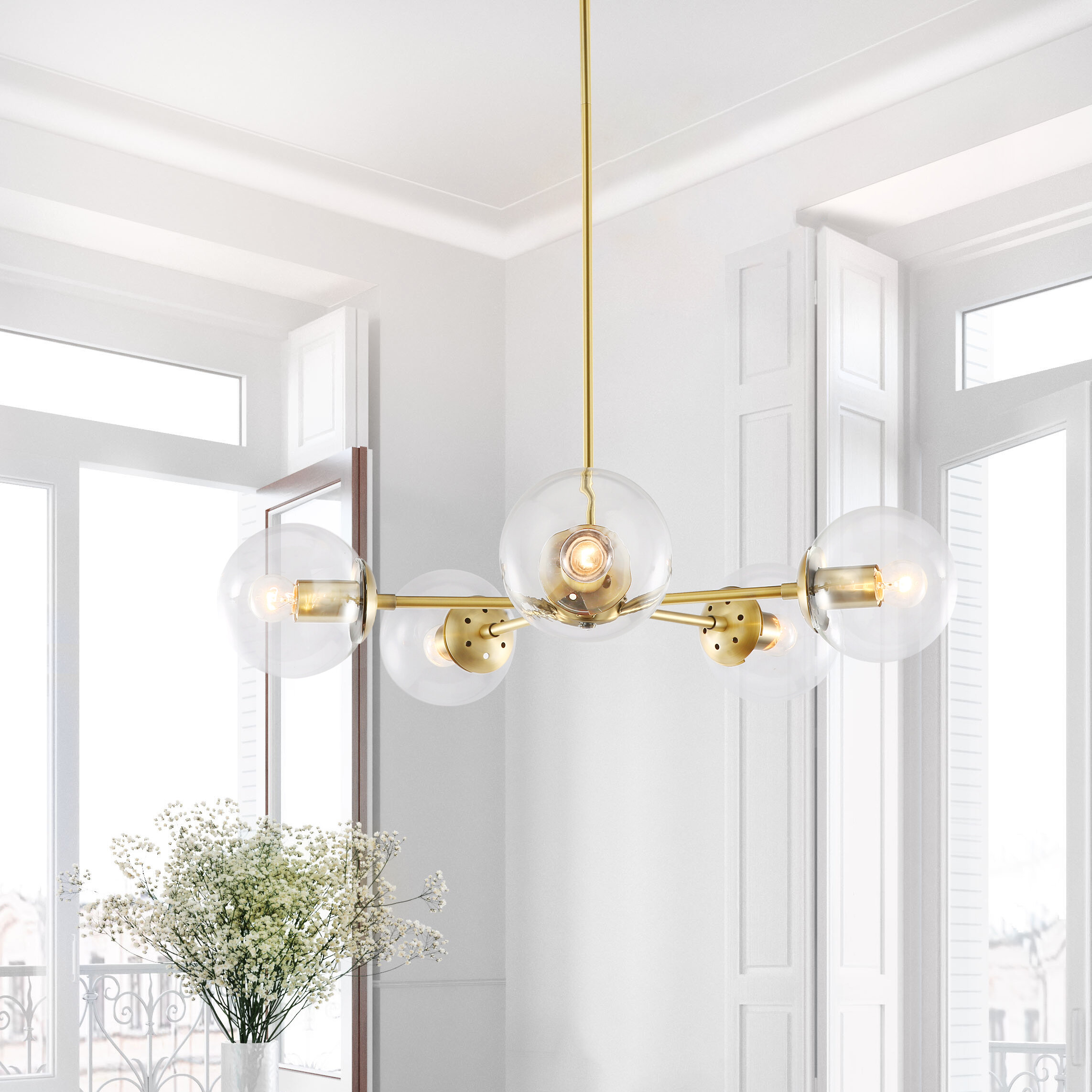 10 Lights Modern Brass Sputnik Urchin Chandelier Light Fixture 22D