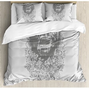 East Urban Home Gothic Sketch of a Scary Man with Grunge Effects Monster Evil Hand Drawn Print Duvet Set